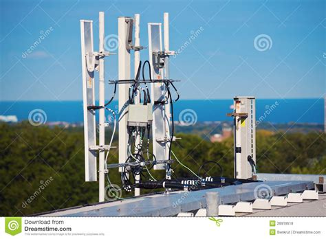 cell antennas installed   roof royalty  stock  image