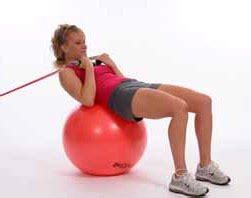 thera band tubing abdominal crunch on exercise
