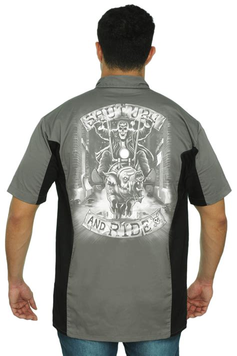 Hoodie Mechanic Skeleton s mechanic work shirt shut up ride skeleton biker skull hog motorcycle ebay