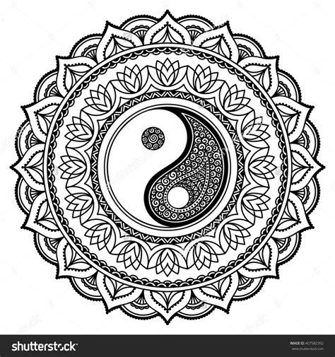 henna tattoo designs yin yang vector henna tatoo mandala yin yang decorative symbol