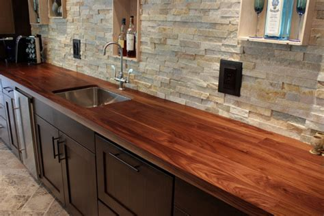 walnut countertop with undermount sink contemporary