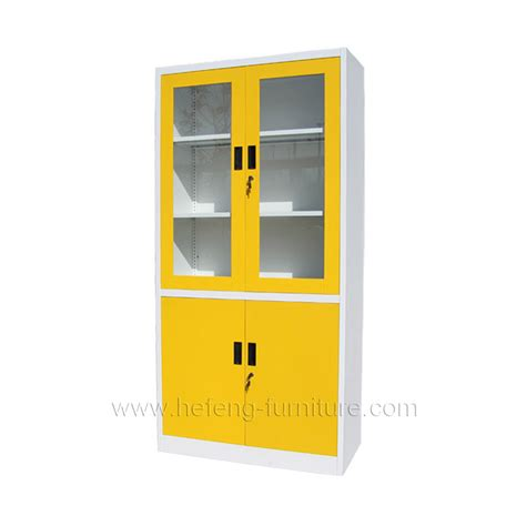 Yellow Metal Filing Cabinet Glass Door Office Cabinet Luoyang Hefeng Furniture