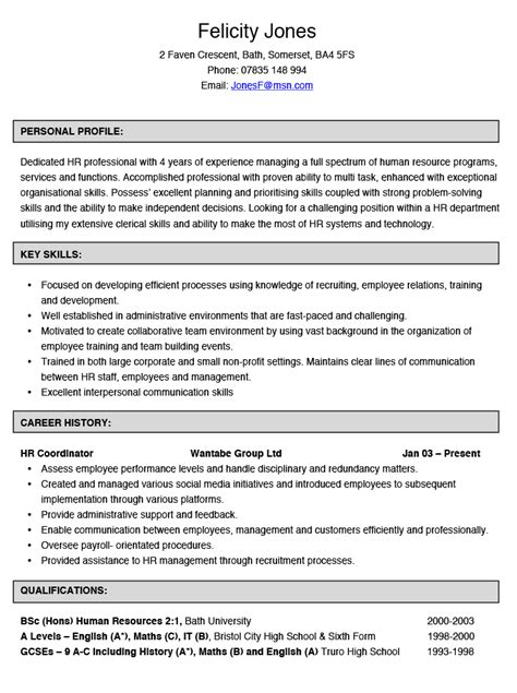 Resume Sles Human Resources Coordinator Human Resources Coordinator Cv Exle Hashtag Cv