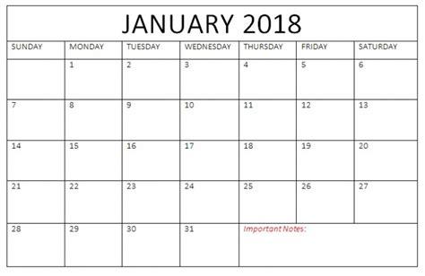 printable calendar 2018 january pdf free january 2018 calendar pdf printable printable