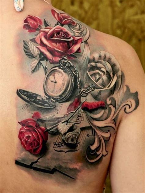 clock tattoo with roses 61 stunning clock shoulder tattoos
