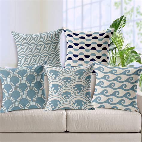 Light Blue Home Decor Light Blue Chevron Linen Cotton Cushion Wave Pattern Home Decor Pillow Decorativ Pillows