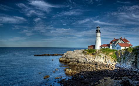 sea lighthouse hdr cape elizabeth wallpaper 2560x1600