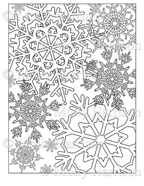 free coloring pages christmas snowflakes items similar to snowflake coloring page various