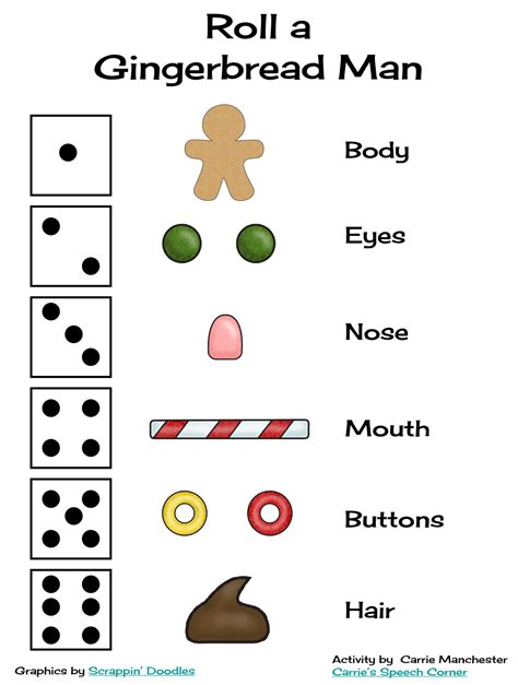 printable gingerbread dice game speechie freebies roll a gingerbread man