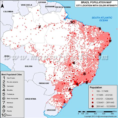 us map with populated cities til brazil is larger than the contiguous united states