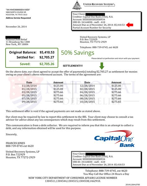 Capital One Credit Letter Debt Settlement Letters