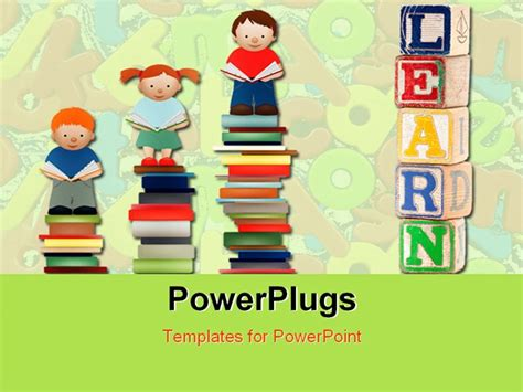 powerpoint template various children standing on books