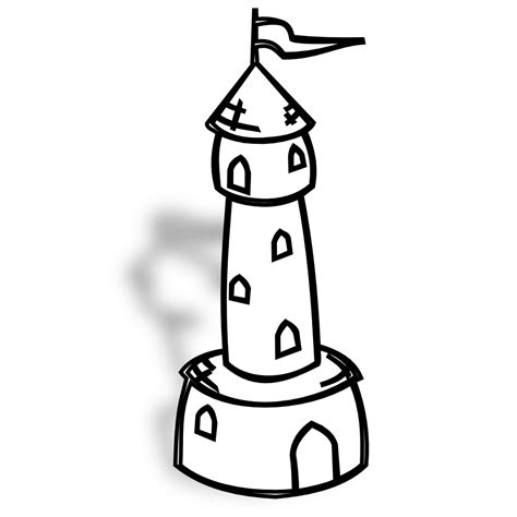 Towers Coloring Page 187 Rpg Map Symbols Round Tower With Flag Black White Line by Towers Coloring Page