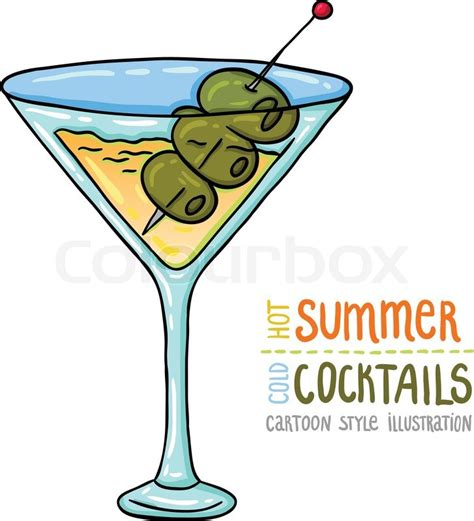 cartoon cocktail cartoon style illustration of fresh cocktail summer
