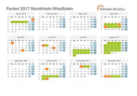 Nrw Kalender 2017 Ferien Nordrhein Westfalen 2017 Ferienkalender Zum