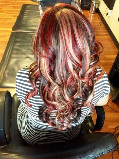 chunky red blonde and brown highlight pictures dark brown hair with chunky red and blonde highlights