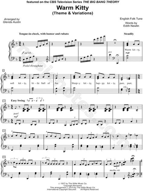 theme variations music glenda austin quot warm kitty theme variations quot sheet