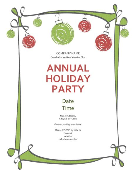 templates for office party invitations holiday party invitation with ornaments and swirling