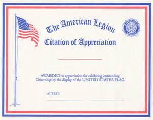 flag citation of appreciation american legion flag amp emblem