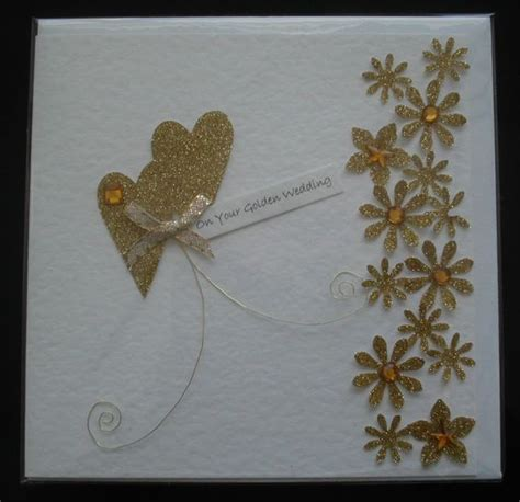 Handmade 50th Wedding Anniversary Cards - handmade 50th anniversary card golden wedding hearts and