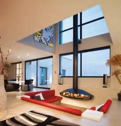 Modern Interior Mid Century Modern Hanging Fireplace Interior Design