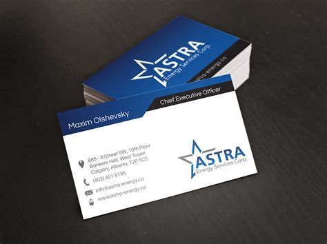 card company business card design for a local energy company digital