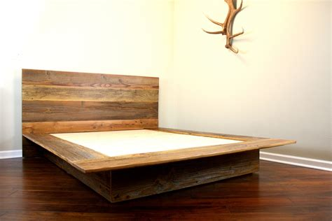 wooden platform bed frame reclaimed wood platform bed rustic modern bed by wearemfeo