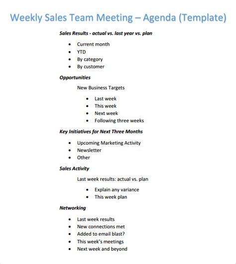 sales team meeting agenda template weekly agenda template 6 free for pdf word