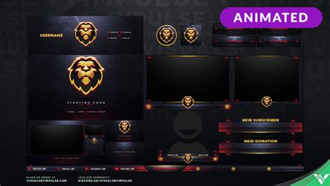 lion animated stream overlays graphics  twitch  mixer