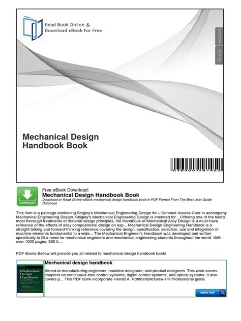 mechanical engineering design criteria documentation mechanical design handbook book mechanical engineering