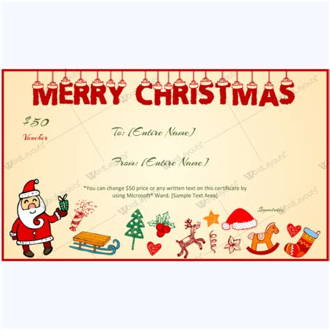 christmas gift certificate  voucher templates word layouts