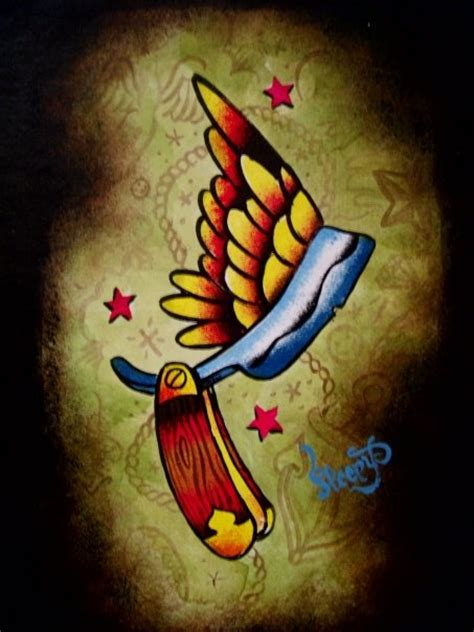 cut throat tattoo razor my paintings