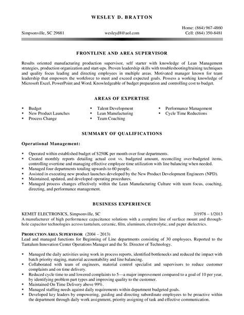 production supervisor resume student resume template