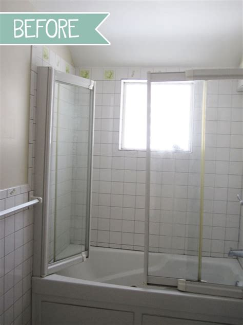 shower door vs shower curtain before the big update mini bathroom update designlively