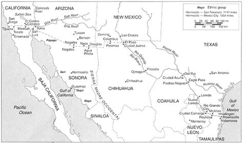 map of southwest usa and mexico in the shadow of the eagles