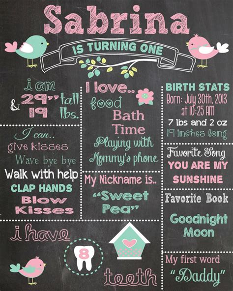 first birthday chalkboard printable poster bird theme baby