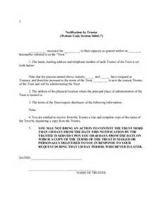 Trustee Resignation Letter by California Trustee Notification Pursuant To Probate Code Section 16061