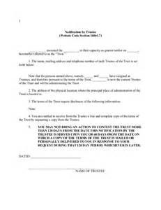 california trustee notification pursuant to probate code