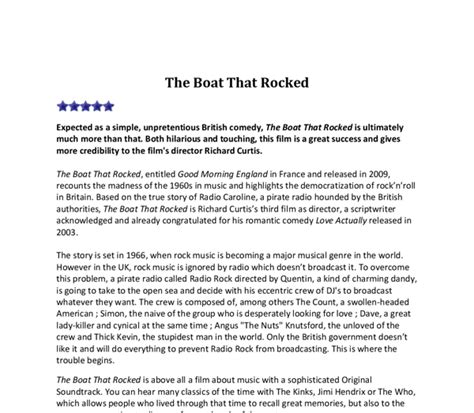 the boat movie review movie review the boat that rocked gcse english