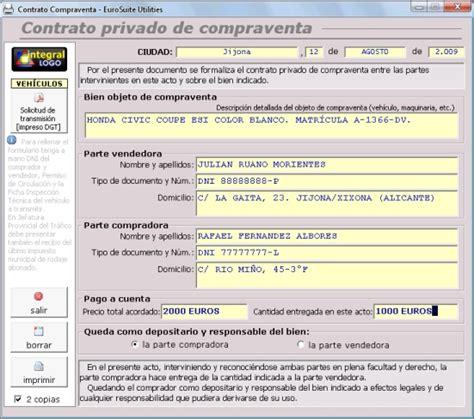 Modelo Privado Contrato Compraventa Coches Motos | modelo privado contrato compraventa coches motos