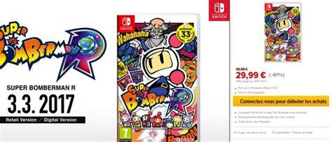 Promo Nintendo Switch Bomberman R Sby0311 1 bomberman r se met 224 jour et passe en version 1 4 1 switch nintendo master