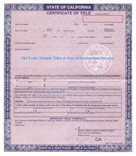 car title templates my vehicle title