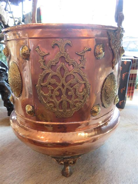Copper Planters For Sale by 19th Century Hammered Copper And Brass Coal Or