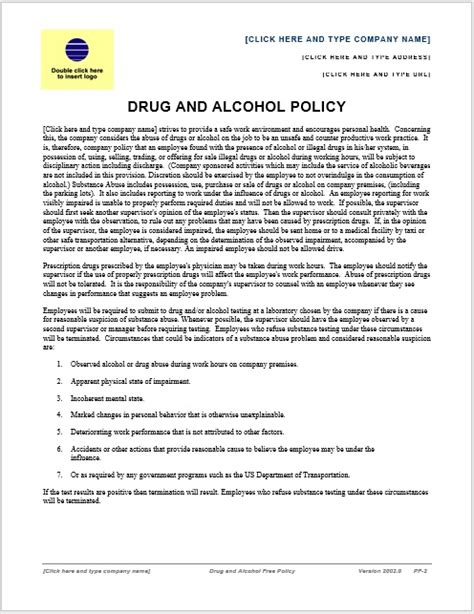 drug and alcohol policy sle printable templates