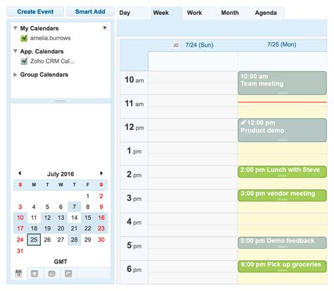 Zoho Calendar Plan Your Week And Monthly Activities Within Crm Zoho Crm