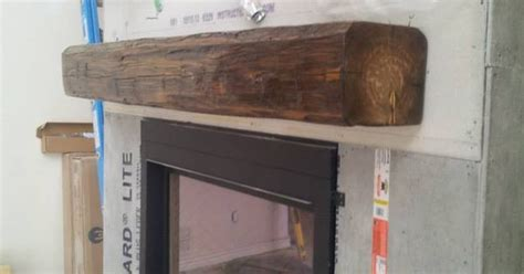 How To Install A Wood Beam Fireplace Mantel by Installing A Barn Beam Mantel Before The Is The Best