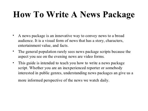 how to write a news package