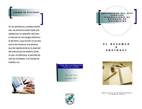 Resumen O Abstract by El Resumen O Quot Abstract Quot By Biblioteca De La Universidad