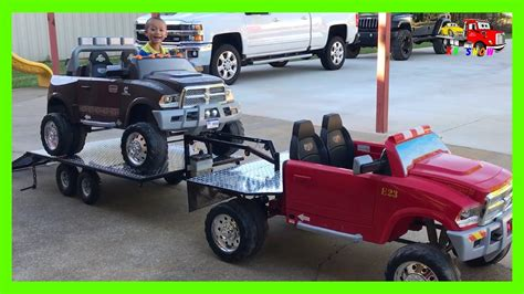 ride on truck with custom built gooseneck trailer flatbed truck