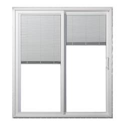 Sliding Glass Doors With Blinds Inside Shop Jeld Wen 59 5000 In Blinds Between The Glass White